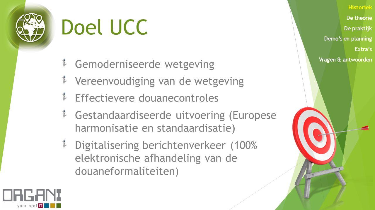 Doel UCC Gemoderniseerde wetgeving Vereenvoudiging van de wetgeving Effectievere douanecontroles Gestandaardiseerde uitvoering (Europese harmonisatie
