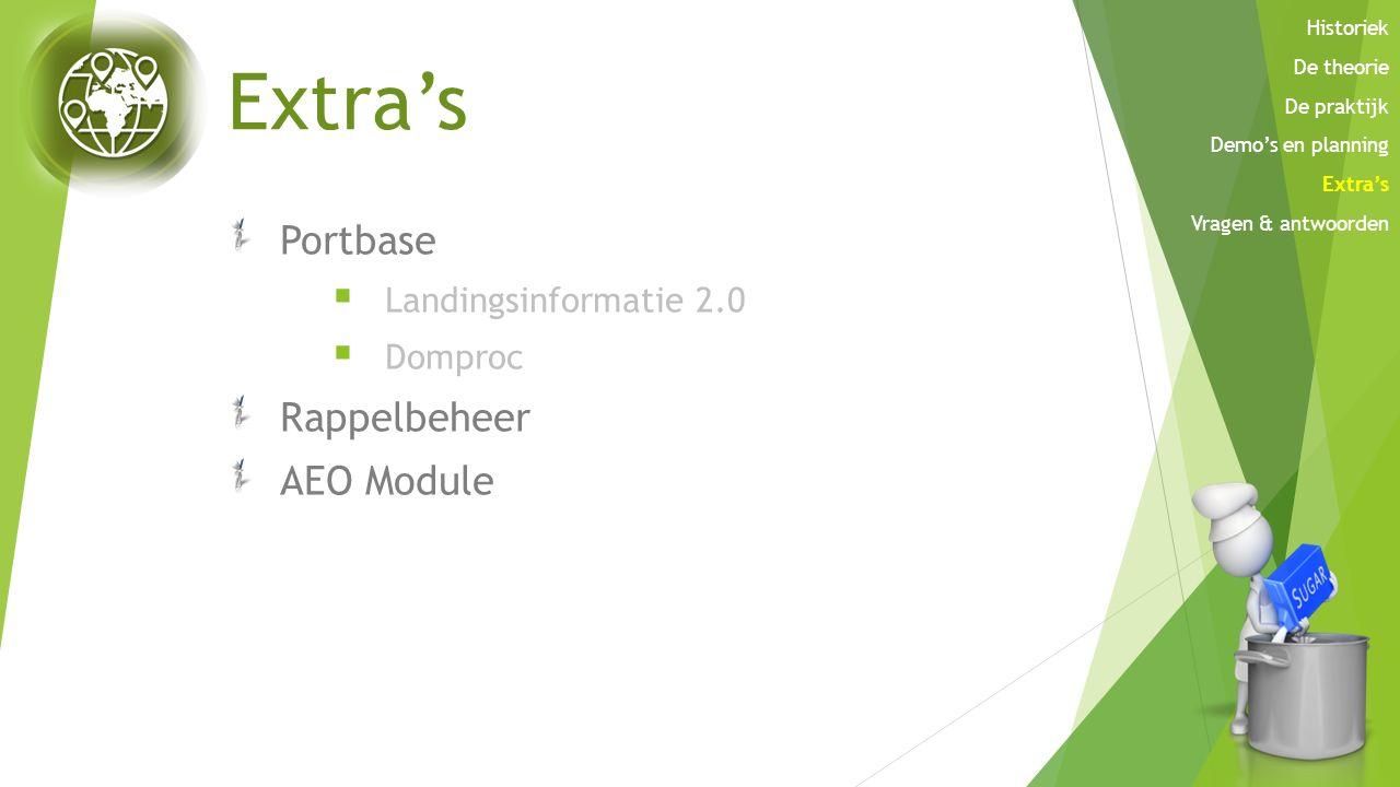 Extra's Portbase  Landingsinformatie 2.0  Domproc Rappelbeheer AEO Module Historiek De theorie De praktijk Demo's en planning Extra's Vragen & antwo