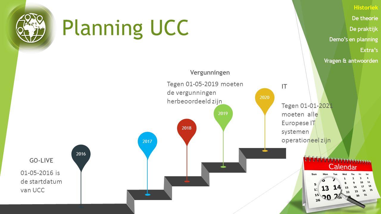 Planning UCC 20162017201820192020 GO-LIVE 01-05-2016 is de startdatum van UCC Vergunningen Tegen 01-05-2019 moeten de vergunningen herbeoordeeld zijn