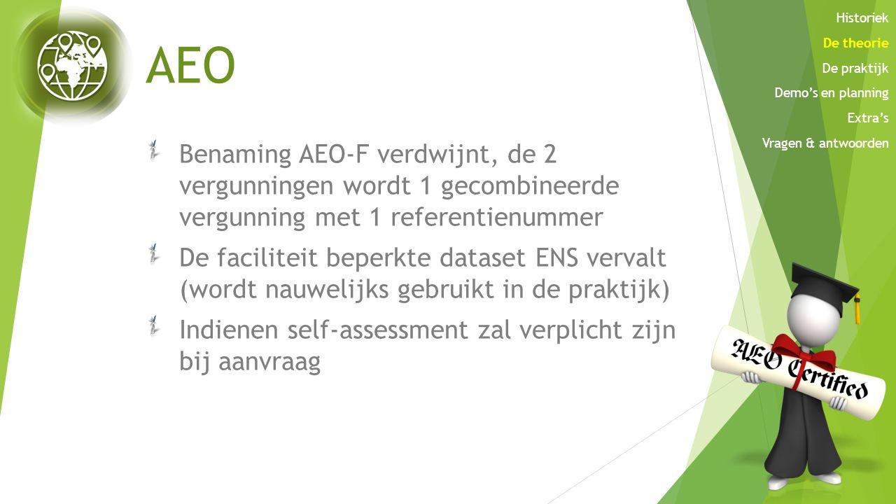 AEO Benaming AEO-F verdwijnt, de 2 vergunningen wordt 1 gecombineerde vergunning met 1 referentienummer De faciliteit beperkte dataset ENS vervalt (wo