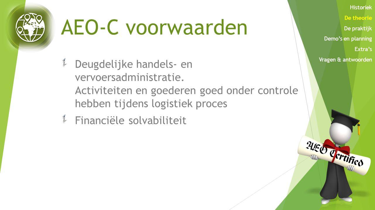 AEO-C voorwaarden Deugdelijke handels- en vervoersadministratie. Activiteiten en goederen goed onder controle hebben tijdens logistiek proces Financië