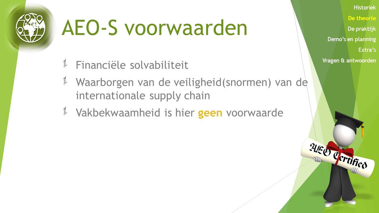 AEO-S voorwaarden Financiële solvabiliteit Waarborgen van de veiligheid(snormen) van de internationale supply chain Vakbekwaamheid is hier geen voorwa