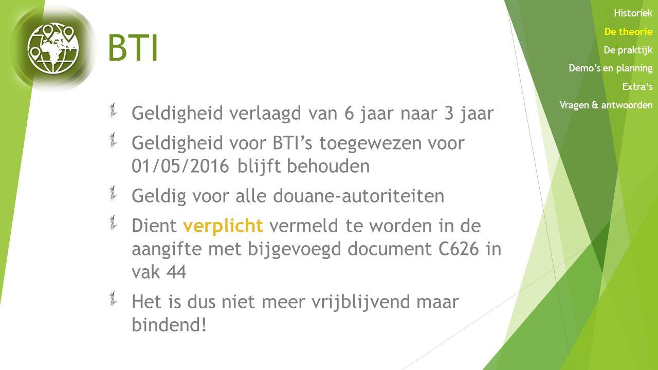 BTI Geldigheid verlaagd van 6 jaar naar 3 jaar Geldigheid voor BTI's toegewezen voor 01/05/2016 blijft behouden Geldig voor alle douane-autoriteiten D