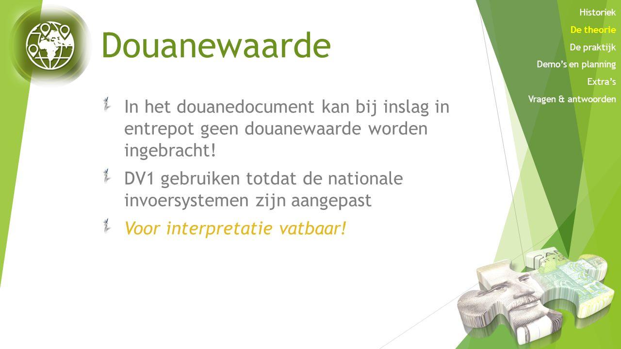 Douanewaarde In het douanedocument kan bij inslag in entrepot geen douanewaarde worden ingebracht! DV1 gebruiken totdat de nationale invoersystemen zi