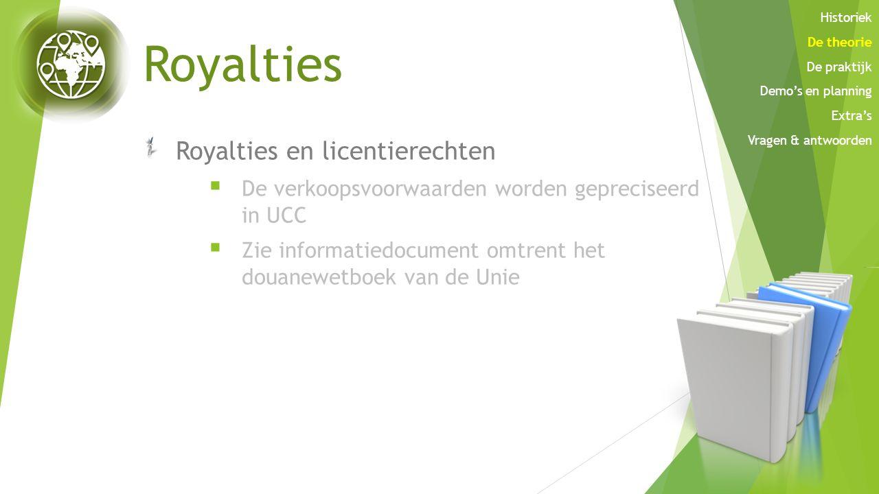 Royalties Royalties en licentierechten  De verkoopsvoorwaarden worden gepreciseerd in UCC  Zie informatiedocument omtrent het douanewetboek van de U