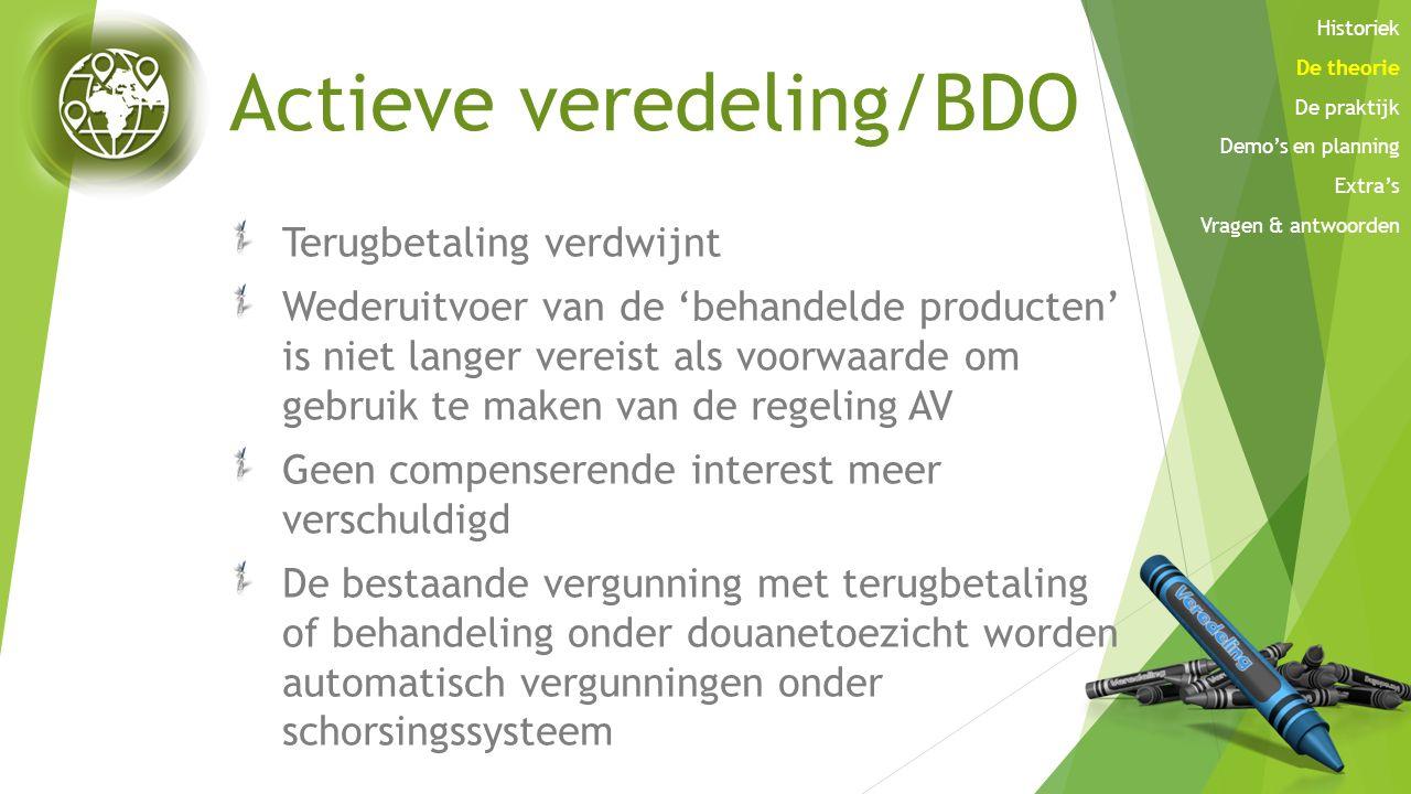 Actieve veredeling/BDO Terugbetaling verdwijnt Wederuitvoer van de 'behandelde producten' is niet langer vereist als voorwaarde om gebruik te maken va