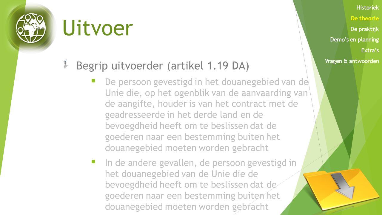 Uitvoer Begrip uitvoerder (artikel 1.19 DA)  De persoon gevestigd in het douanegebied van de Unie die, op het ogenblik van de aanvaarding van de aang