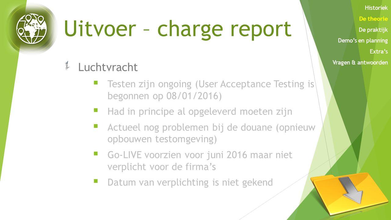 Uitvoer – charge report Luchtvracht  Testen zijn ongoing (User Acceptance Testing is begonnen op 08/01/2016)  Had in principe al opgeleverd moeten z