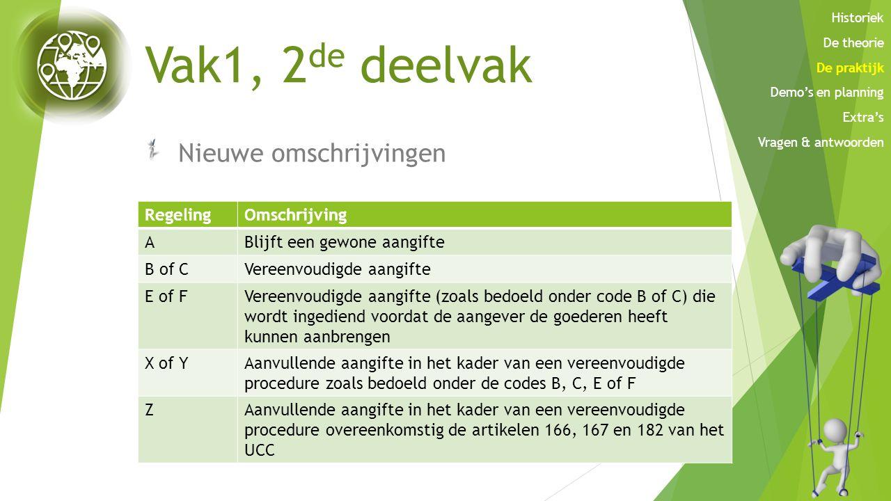 Vak1, 2 de deelvak Nieuwe omschrijvingen RegelingOmschrijving ABlijft een gewone aangifte B of CVereenvoudigde aangifte E of FVereenvoudigde aangifte