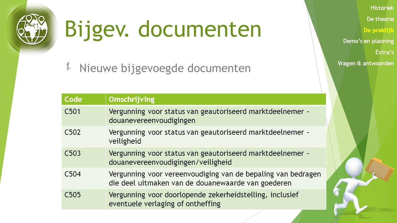 Bijgev. documenten Nieuwe bijgevoegde documenten CodeOmschrijving C501Vergunning voor status van geautoriseerd marktdeelnemer – douanevereenvoudiginge