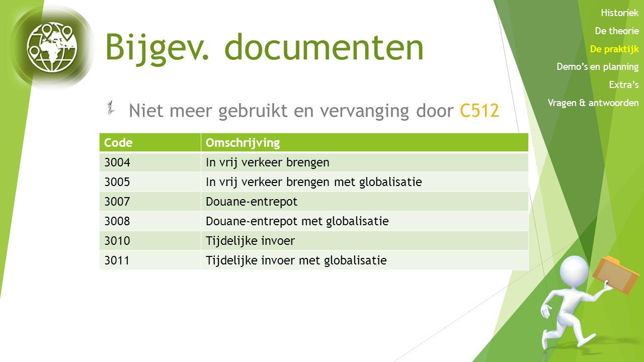 Bijgev. documenten Niet meer gebruikt en vervanging door C512 CodeOmschrijving 3004In vrij verkeer brengen 3005In vrij verkeer brengen met globalisati
