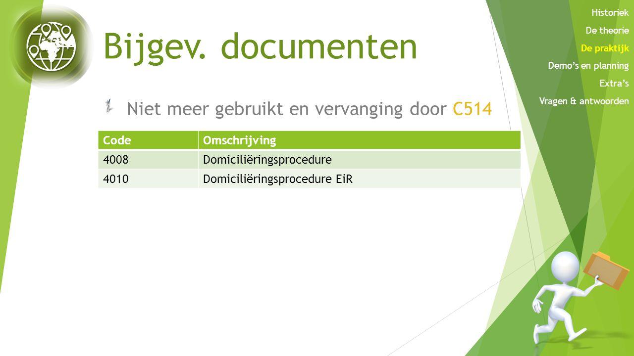 Bijgev. documenten Niet meer gebruikt en vervanging door C514 CodeOmschrijving 4008Domiciliëringsprocedure 4010Domiciliëringsprocedure EiR Historiek D