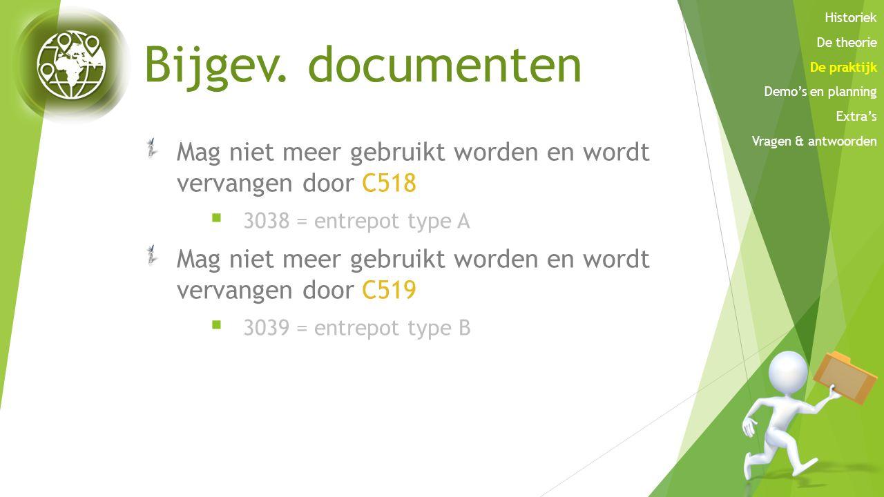 Bijgev. documenten Mag niet meer gebruikt worden en wordt vervangen door C518  3038 = entrepot type A Mag niet meer gebruikt worden en wordt vervange