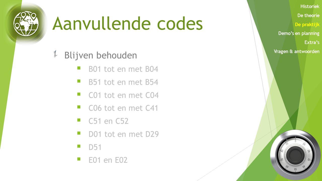 Aanvullende codes Blijven behouden  B01 tot en met B04  B51 tot en met B54  C01 tot en met C04  C06 tot en met C41  C51 en C52  D01 tot en met D