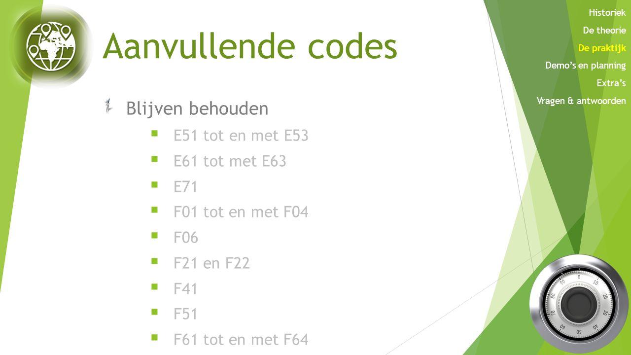 Aanvullende codes Blijven behouden  E51 tot en met E53  E61 tot met E63  E71  F01 tot en met F04  F06  F21 en F22  F41  F51  F61 tot en met F