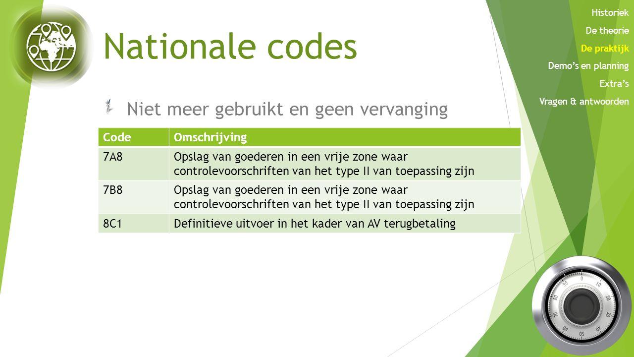 Nationale codes Niet meer gebruikt en geen vervanging CodeOmschrijving 7A8Opslag van goederen in een vrije zone waar controlevoorschriften van het typ