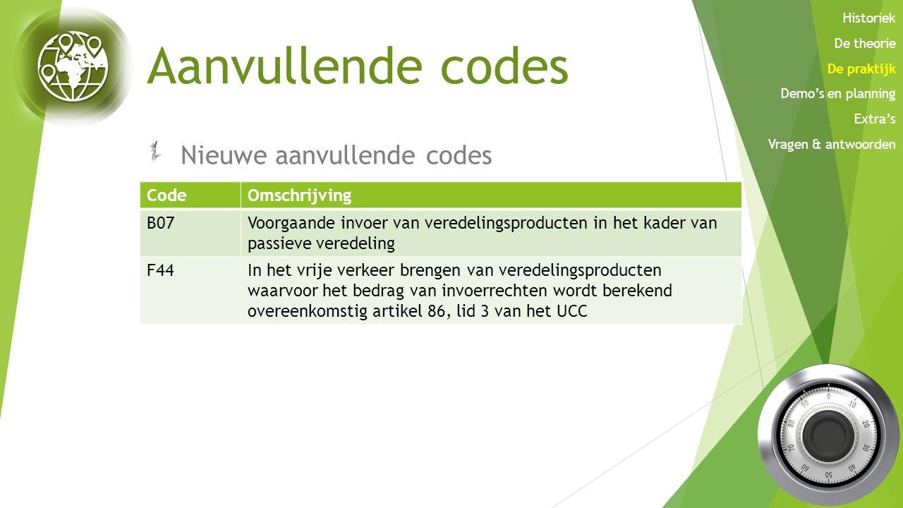 Aanvullende codes Nieuwe aanvullende codes CodeOmschrijving A01 tot en met A05 en A08 In de omschrijving zal schorsingssysteem verdwijnen A51 tot en m