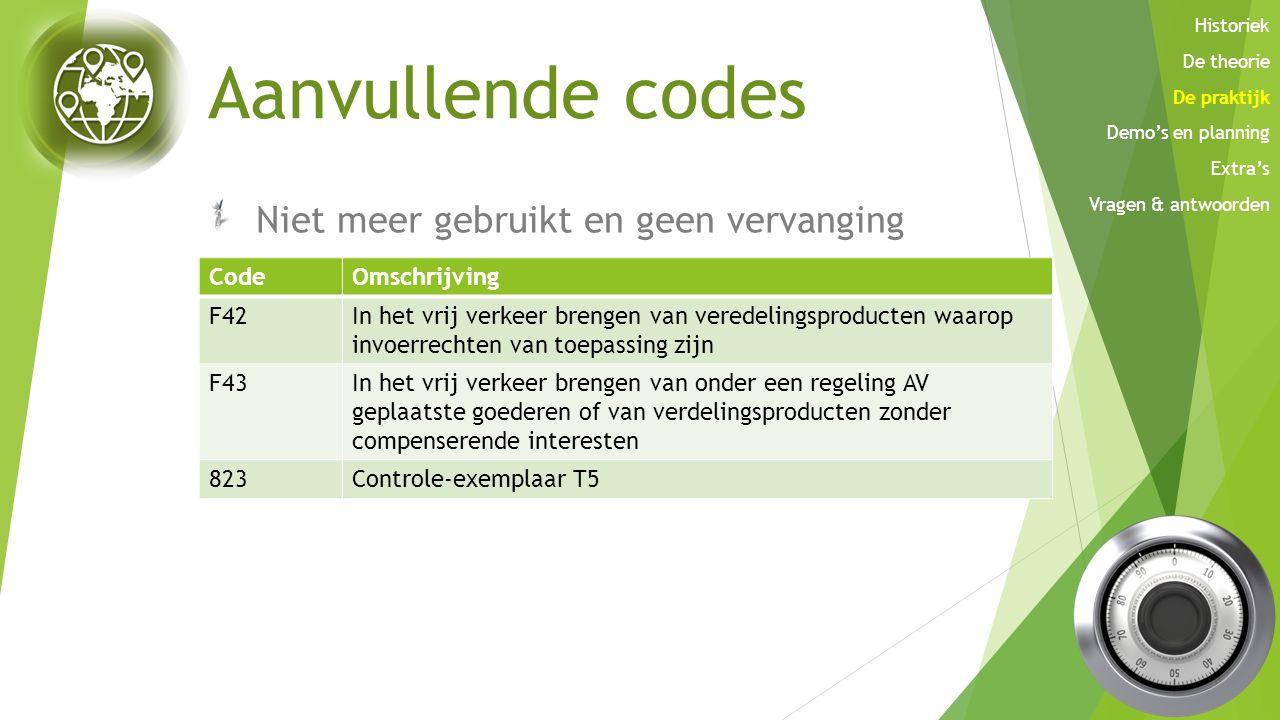 Aanvullende codes Niet meer gebruikt en geen vervanging CodeOmschrijving A01 tot en met A05 en A08 In de omschrijving zal schorsingssysteem verdwijnen