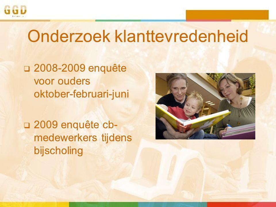 Onderzoek klanttevredenheid  2008-2009 enquête voor ouders oktober-februari-juni  2009 enquête cb- medewerkers tijdens bijscholing
