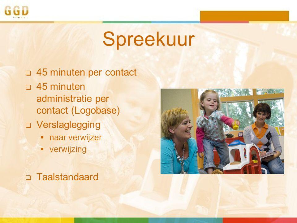 Spreekuur  45 minuten per contact  45 minuten administratie per contact (Logobase)  Verslaglegging  naar verwijzer  verwijzing  Taalstandaard