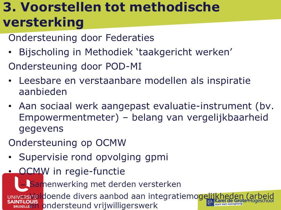 3. Voorstellen tot methodische versterking Ondersteuning door Federaties Bijscholing in Methodiek 'taakgericht werken' Ondersteuning door POD-MI Leesb