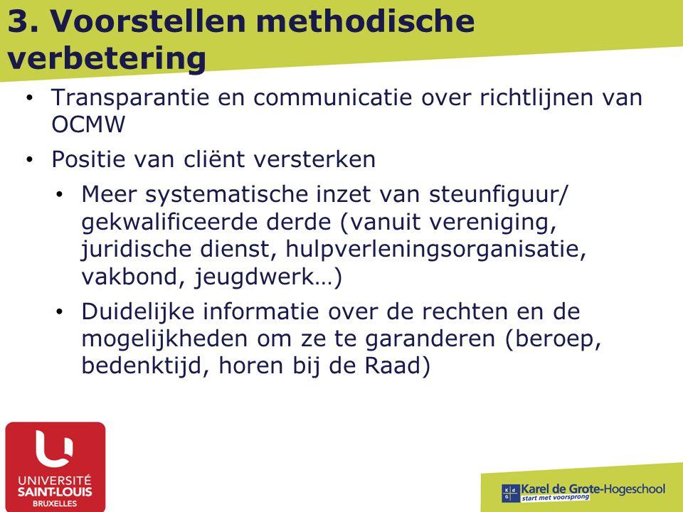 3. Voorstellen methodische verbetering Transparantie en communicatie over richtlijnen van OCMW Positie van cliënt versterken Meer systematische inzet