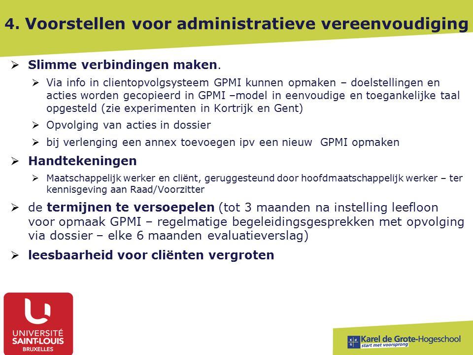 4. Voorstellen voor administratieve vereenvoudiging  Slimme verbindingen maken.