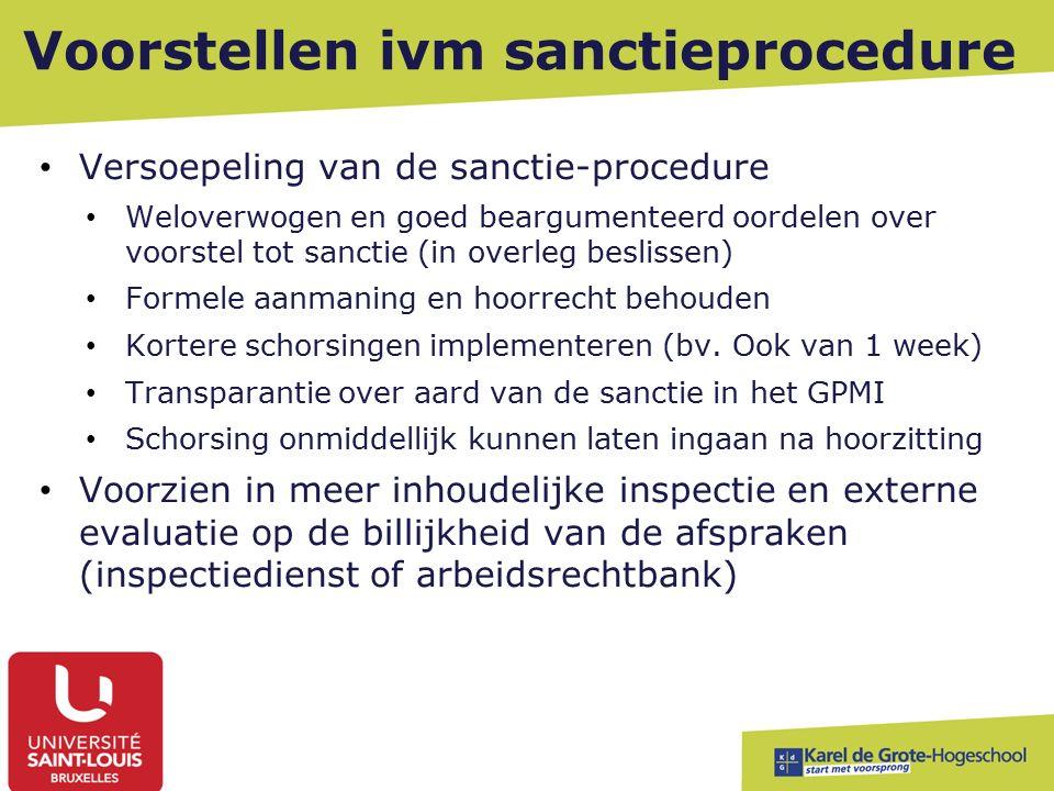 Voorstellen ivm sanctieprocedure Versoepeling van de sanctie-procedure Weloverwogen en goed beargumenteerd oordelen over voorstel tot sanctie (in overleg beslissen) Formele aanmaning en hoorrecht behouden Kortere schorsingen implementeren (bv.