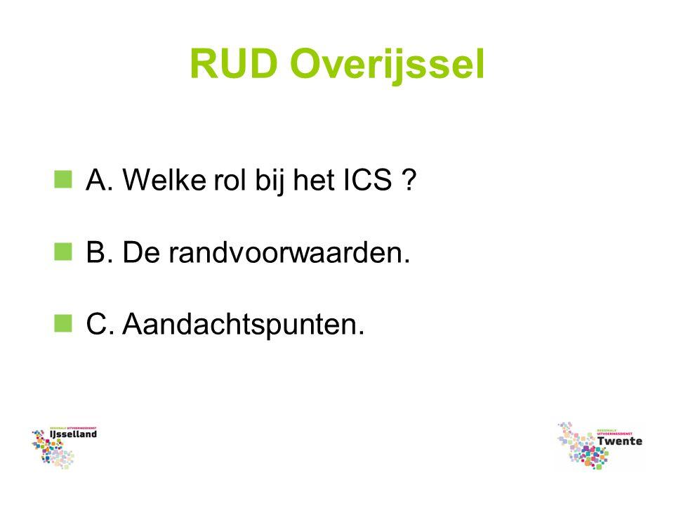 RUD Overijssel A. Welke rol bij het ICS B. De randvoorwaarden. C. Aandachtspunten.