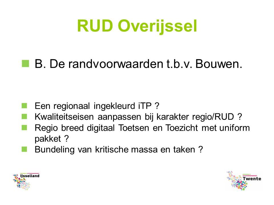 RUD Overijssel B. De randvoorwaarden t.b.v. Bouwen.