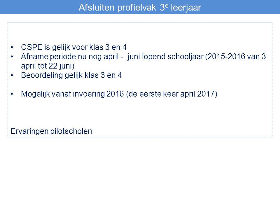 Afsluiten profielvak 3 e leerjaar CSPE is gelijk voor klas 3 en 4 Afname periode nu nog april - juni lopend schooljaar (2015-2016 van 3 april tot 22 juni) Beoordeling gelijk klas 3 en 4 Mogelijk vanaf invoering 2016 (de eerste keer april 2017) Ervaringen pilotscholen