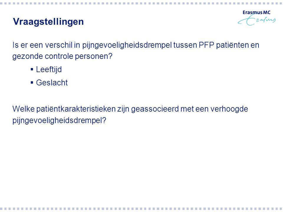 Vraagstellingen Is er een verschil in pijngevoeligheidsdrempel tussen PFP patiënten en gezonde controle personen?  Leeftijd  Geslacht Welke patiëntk
