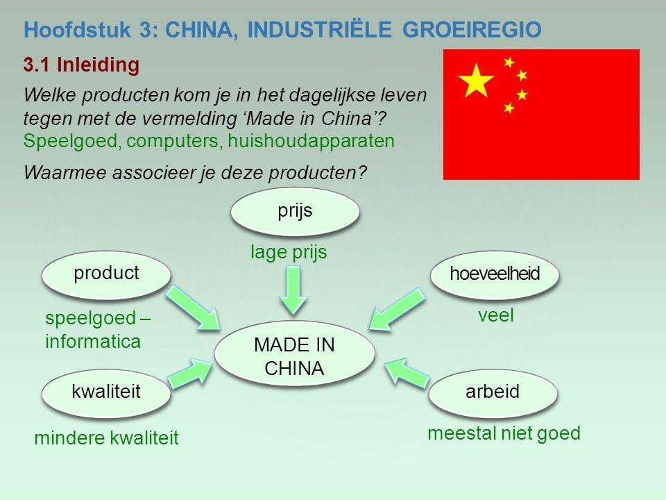 Hoofdstuk 3: CHINA, INDUSTRIËLE GROEIREGIO 3.1 Inleiding Welke producten kom je in het dagelijkse leven tegen met de vermelding 'Made in China'? Speel