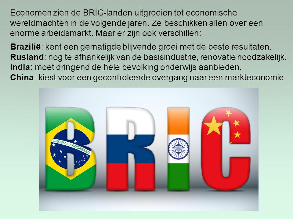 Economen zien de BRIC-landen uitgroeien tot economische wereldmachten in de volgende jaren. Ze beschikken allen over een enorme arbeidsmarkt. Maar er