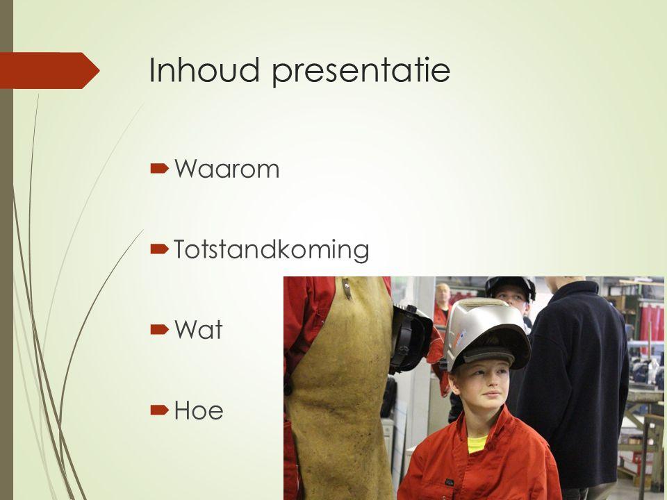 Inhoud presentatie  Waarom  Totstandkoming  Wat  Hoe