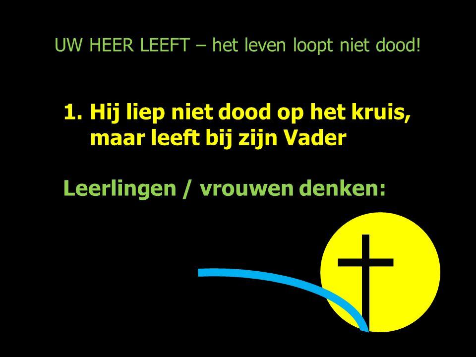 UW HEER LEEFT – het leven loopt niet dood! 1.Hij liep niet dood op het kruis, maar leeft bij zijn Vader Leerlingen / vrouwen denken: