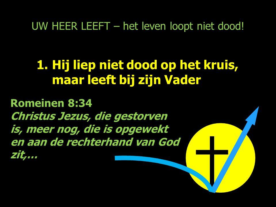 UW HEER LEEFT – het leven loopt niet dood! 1.Hij liep niet dood op het kruis, maar leeft bij zijn Vader Romeinen 8:34 Christus Jezus, die gestorven is