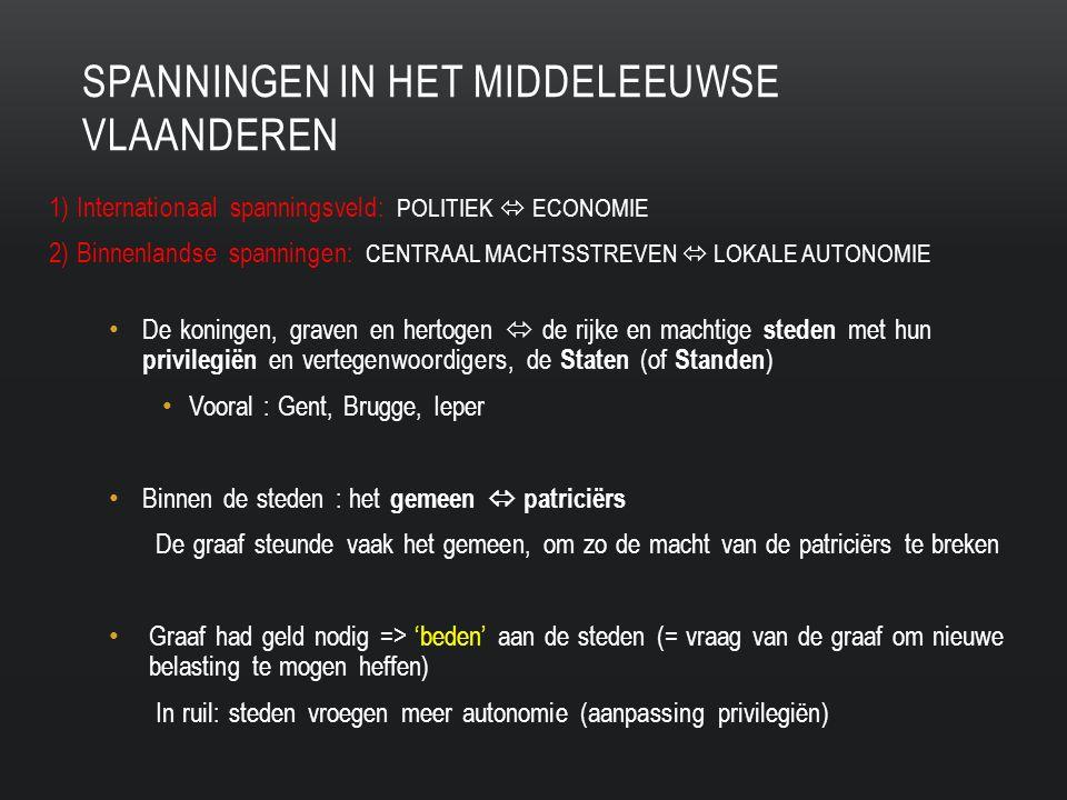 SPANNINGEN IN HET MIDDELEEUWSE VLAANDEREN 1) Internationaal spanningsveld: POLITIEK  ECONOMIE 2) Binnenlandse spanningen: CENTRAAL MACHTSSTREVEN  LOKALE AUTONOMIE De koningen, graven en hertogen  de rijke en machtige steden met hun privilegiën en vertegenwoordigers, de Staten (of Standen ) Vooral : Gent, Brugge, Ieper Binnen de steden : het gemeen  patriciërs De graaf steunde vaak het gemeen, om zo de macht van de patriciërs te breken Graaf had geld nodig => 'beden' aan de steden (= vraag van de graaf om nieuwe belasting te mogen heffen) In ruil: steden vroegen meer autonomie (aanpassing privilegiën)