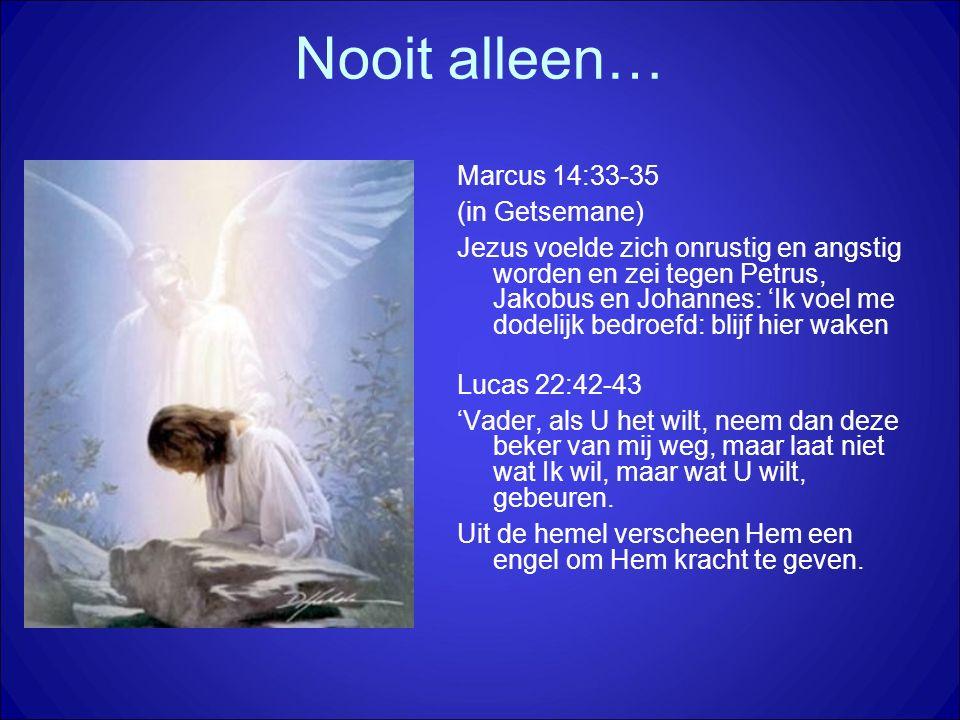Marcus 14:33-35 (in Getsemane) Jezus voelde zich onrustig en angstig worden en zei tegen Petrus, Jakobus en Johannes: 'Ik voel me dodelijk bedroefd: blijf hier waken Lucas 22:42-43 'Vader, als U het wilt, neem dan deze beker van mij weg, maar laat niet wat Ik wil, maar wat U wilt, gebeuren.
