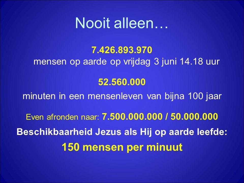 Nooit alleen… 7.426.893.970 mensen op aarde op vrijdag 3 juni 14.18 uur 52.560.000 minuten in een mensenleven van bijna 100 jaar Even afronden naar: 7