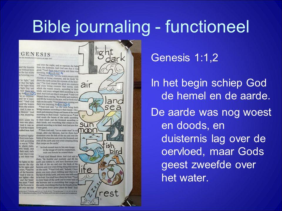 Bible journaling - functioneel Genesis 1:1,2 In het begin schiep God de hemel en de aarde. De aarde was nog woest en doods, en duisternis lag over de