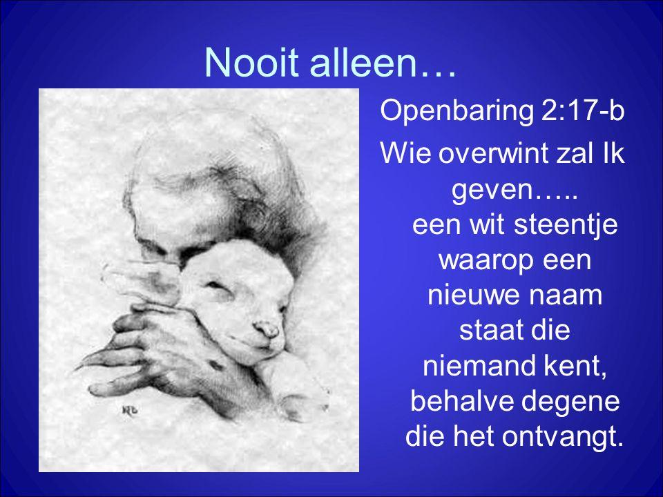 Nooit alleen… Openbaring 2:17-b Wie overwint zal Ik geven….. een wit steentje waarop een nieuwe naam staat die niemand kent, behalve degene die het on