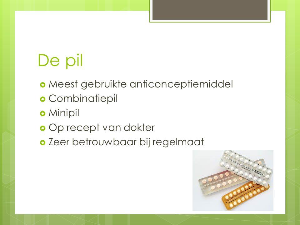 De pil  Meest gebruikte anticonceptiemiddel  Combinatiepil  Minipil  Op recept van dokter  Zeer betrouwbaar bij regelmaat