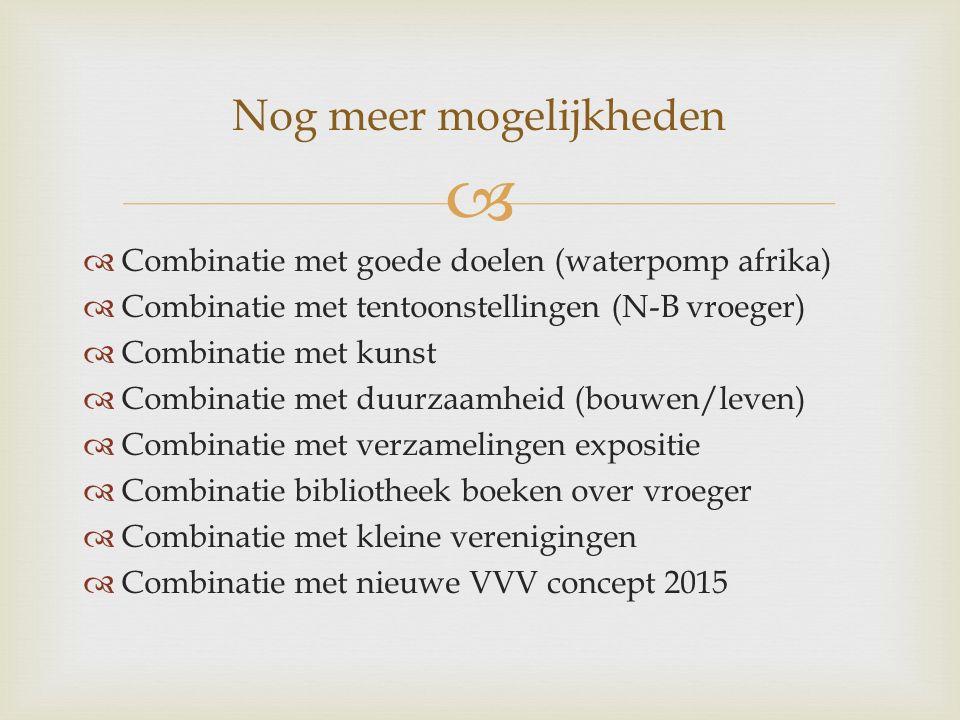   Combinatie met goede doelen (waterpomp afrika)  Combinatie met tentoonstellingen (N-B vroeger)  Combinatie met kunst  Combinatie met duurzaamhe