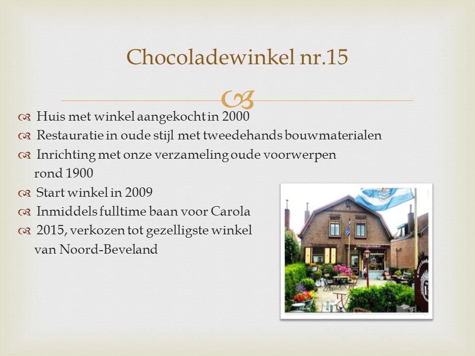   Huis met winkel aangekocht in 2000  Restauratie in oude stijl met tweedehands bouwmaterialen  Inrichting met onze verzameling oude voorwerpen rond 1900  Start winkel in 2009  Inmiddels fulltime baan voor Carola  2015, verkozen tot gezelligste winkel van Noord-Beveland Chocoladewinkel nr.15