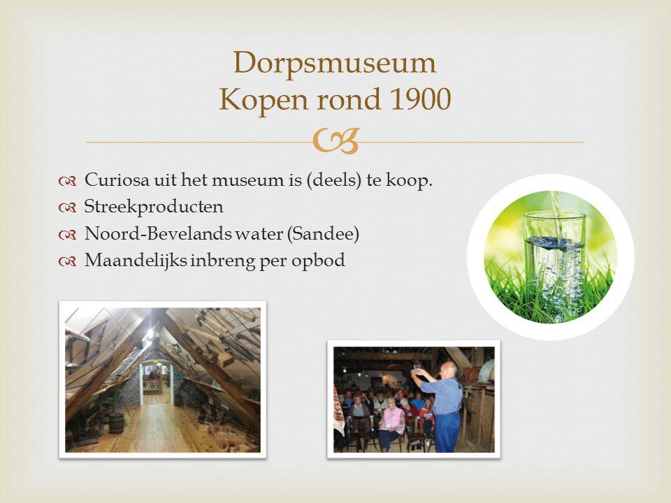   Curiosa uit het museum is (deels) te koop.  Streekproducten  Noord-Bevelands water (Sandee)  Maandelijks inbreng per opbod Dorpsmuseum Kopen ro