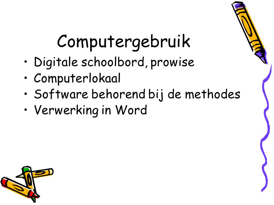 Computergebruik Digitale schoolbord, prowise Computerlokaal Software behorend bij de methodes Verwerking in Word