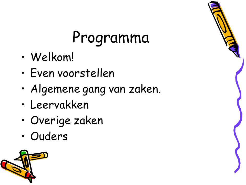 Programma Welkom! Even voorstellen Algemene gang van zaken. Leervakken Overige zaken Ouders