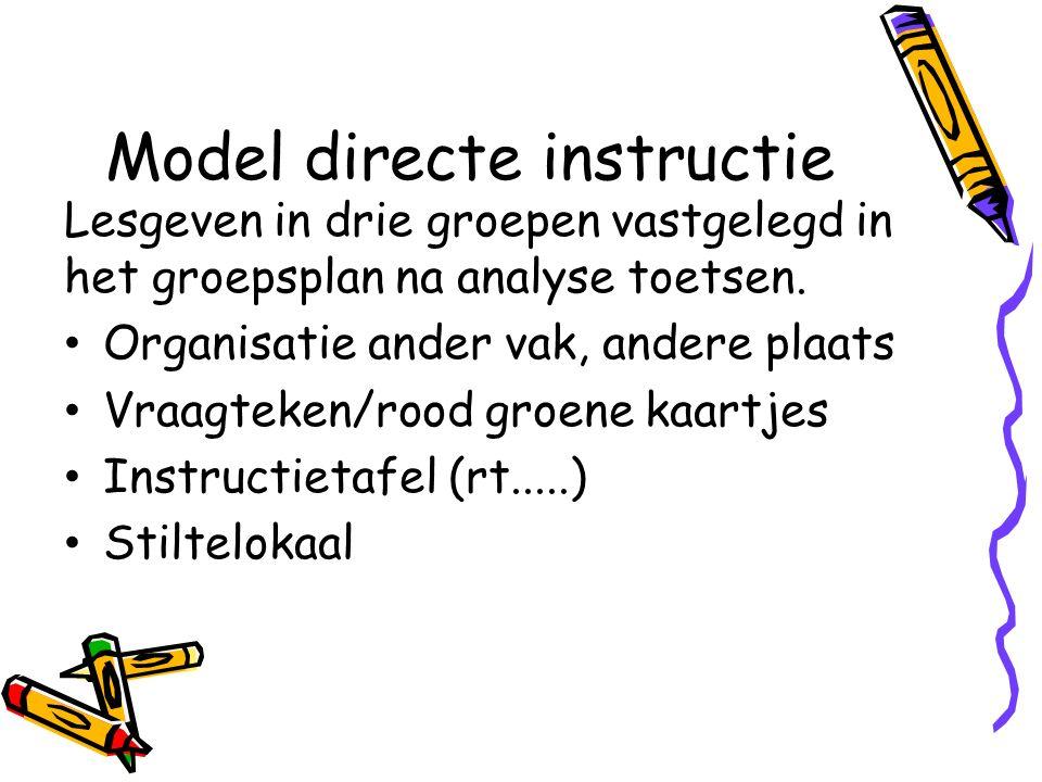 Model directe instructie Lesgeven in drie groepen vastgelegd in het groepsplan na analyse toetsen. Organisatie ander vak, andere plaats Vraagteken/roo