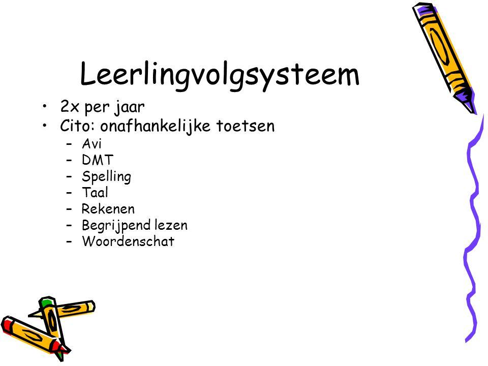 Leerlingvolgsysteem 2x per jaar Cito: onafhankelijke toetsen –Avi –DMT –Spelling –Taal –Rekenen –Begrijpend lezen –Woordenschat